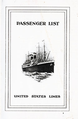 1925-09-23 Ships List for the S.S. George Washington