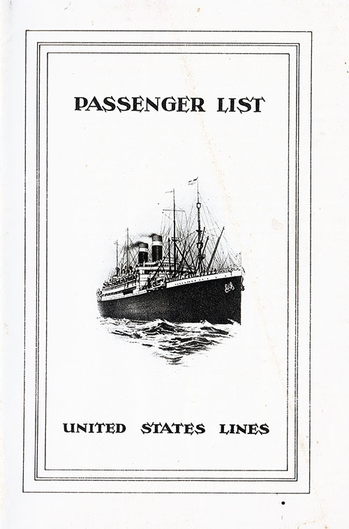 Front Cover, Passenger List, United States Lines SS George Washington, 23 September 1925
