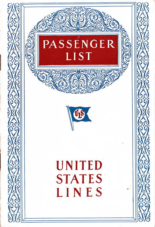 Front Cover, Passenger List, United States Lines, S.S. George Washington, 19 May 1928
