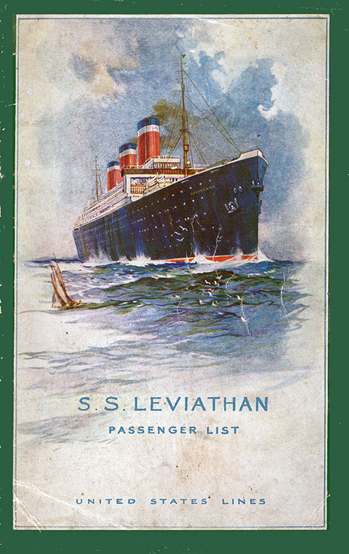 Front Cover, S.S. Leviathan Passenger List 5 August 1924