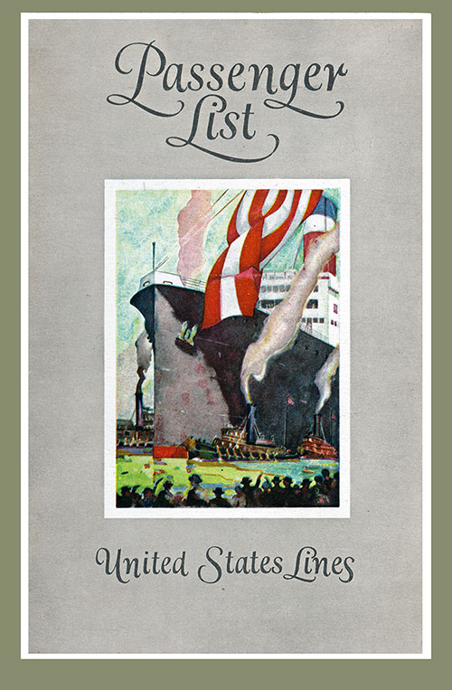 Front Cover, Passenger List, United States Lines SS Leviathan, 19 April 1927