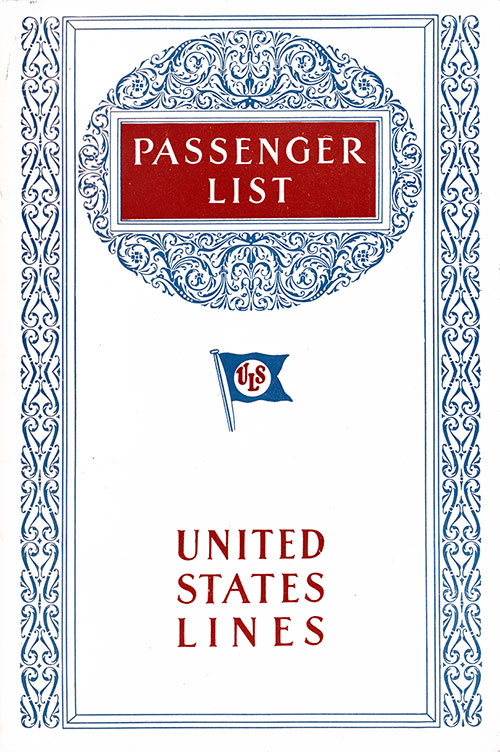 Front Cover, Passenger List, United States Lines S.S. Leviathan, 13 March 1928