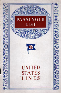 Front Cover, Passenger List, S.S. Leviathan, August 1929, United States Lines