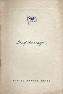 Front Cover, Passenger List, S.S. Manhattan, August 1934, United States Lines