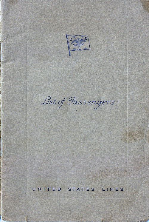 Front Cover, Passenger List, United States Lines S.S. Manhattan, 21 October 1936