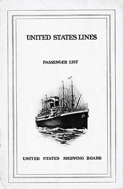 1923-10-19 Passenger Manifest for the S.S. President Arthur