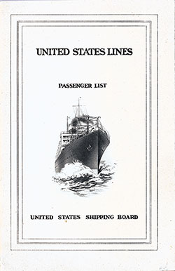 1923-01-06 Passenger Manifest for the S.S. President Harding