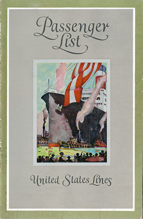 Front Cover, Passenger List, United States Lines SS President Harding, 16 March 1927