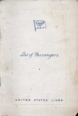 1938-08-31 Passenger Manifest for the S.S. President Roosevelt