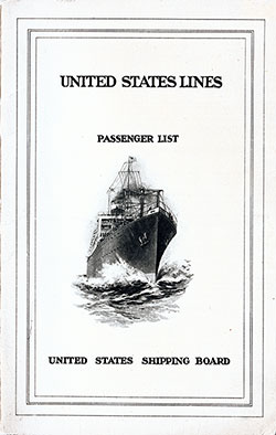 1923-07-18 Passenger Manifest for the S.S. President Van Buren