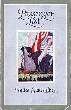 Front Cover, Passenger List, United States Lines S.S. Republic, 24 September 1926
