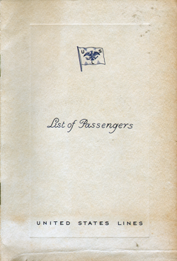 Front Cover, Passenger Manifest, SS Washington, United States Lines, May 1934, Westbound