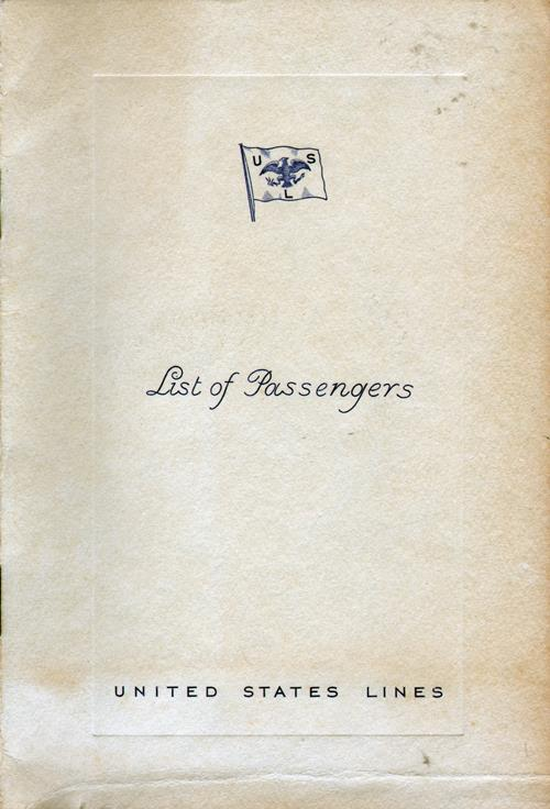 Front Cover, Passenger List, SS Washington, United States Lines, May 1934, Westbound