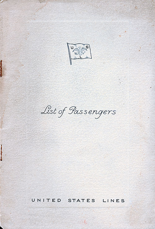 Front Cover S.S. Washington Passenger List 22 August 1939