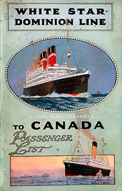 1925-09-18 Passenger Manifest for the SS Canada