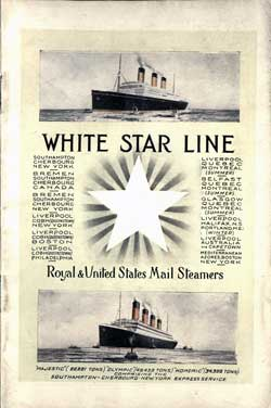 Passenger List, White Star Line R.M.S. Adriatic - 1923