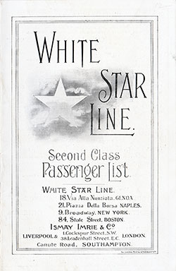 Passenger Manifest, White Star Line, RMS Arabic, 1909, Liverpool to New York