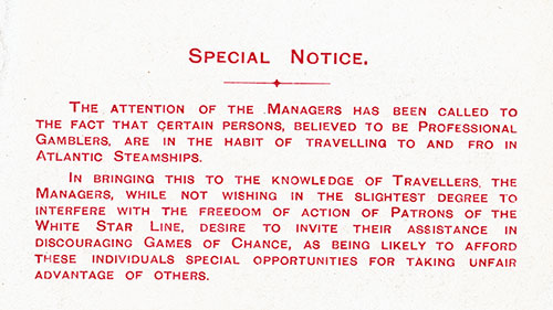 Insert, Special Notice - Professional Gamblers