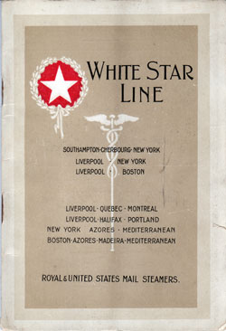 Passenger List, White Star Line R.M.S. Baltic - 1921