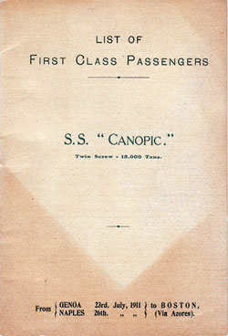 Passenger Manifest, S.S. Canopic, White Star Line, July 1911, Genoa to Boston