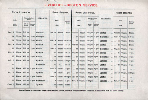 White Star Line Liverpool to Boston Service 1906