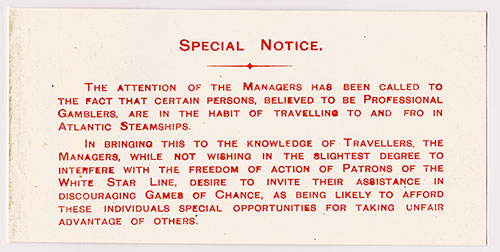 Specail Notice - Professional Gamblers Alert