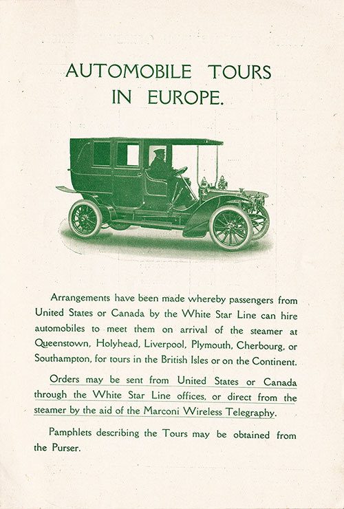 Automobile Tours in EUROPE.