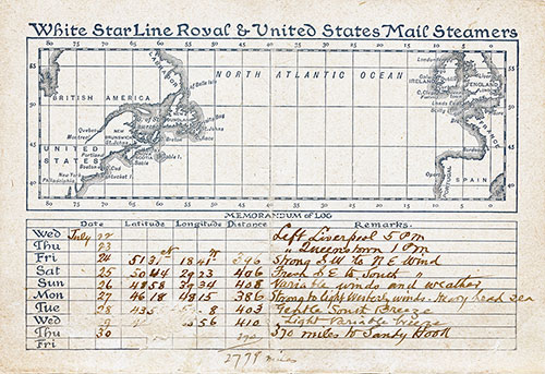 Passenger transcribed Memorandum of Log of this voyage in 1896