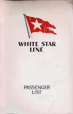 Front Cover, Passenger List, R.M.S. Majestic, August 1933, White Star Line
