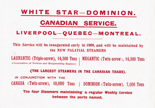 Notice of White Star Dominion Canadian Service (Insert to Passenger List)