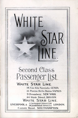 Passenger List, White Star Line S.S. Olympic - 1920 - Front Cover