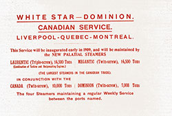 White Star - Dominion Canadian Service Insert
