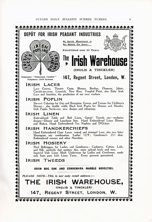 Vintage Fashions - Irish Warehouse - London (1912)