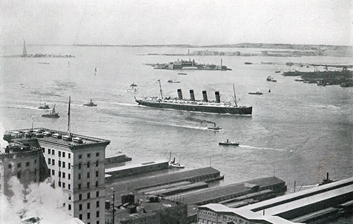 The R.M.S. Lusitania in New York Harbor.