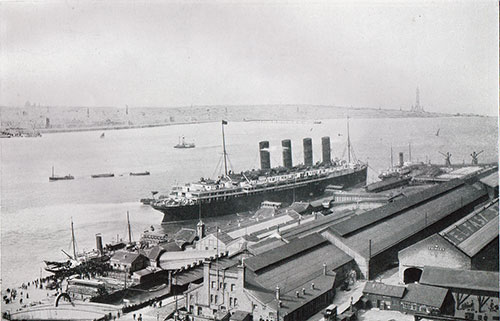 The R.M.S. Lusitania of the Cunard Line at the Liverpool Landing Stage.