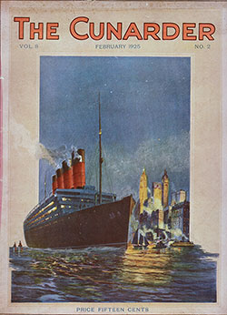 Front Cover, The Cunarder, England, Wales and The British Countryside, February 1925