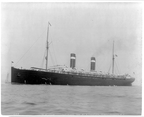 The Amerrican Line Steamship S.S. St. Louis in New York Harbor
