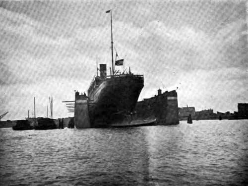 View of Ryndam of the Holland-American Line in Floating Dry Dock.