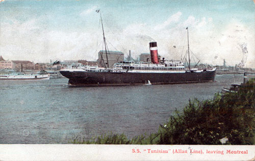 "S.S. Tunisian Post Card ""Leaving Montreal"""