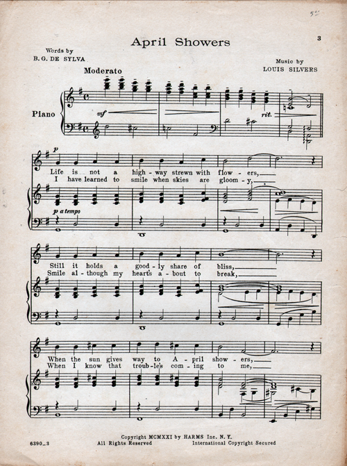 April Showers Sheet Music Page 3