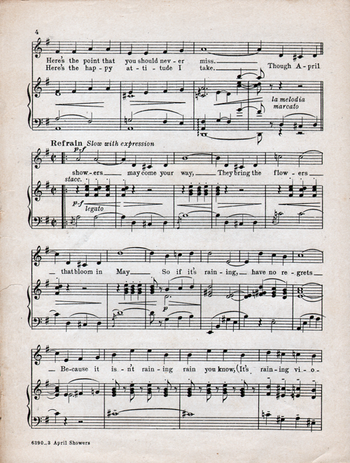 April Showers Sheet Music Page 4