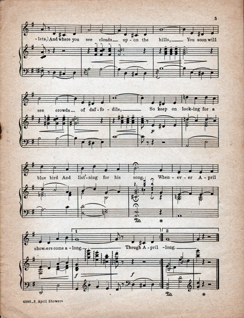April Showers Sheet Music Page 5