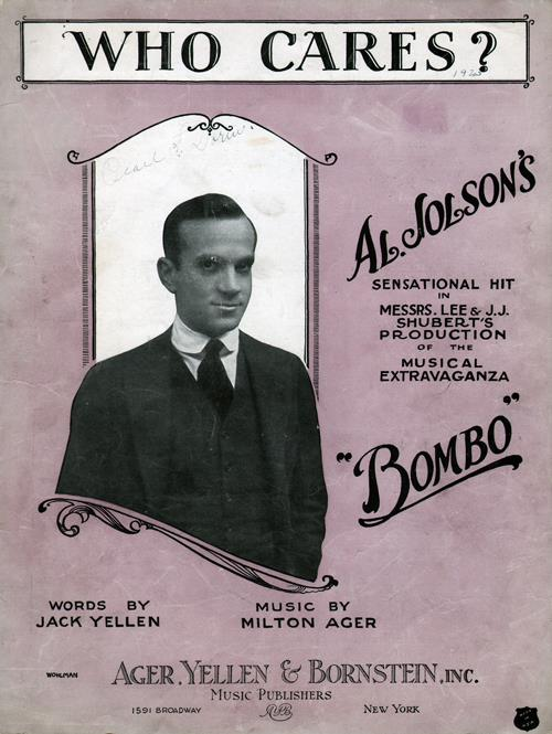 Front Cover of Al Jolson's Who Cares? Sheet Music for Piano