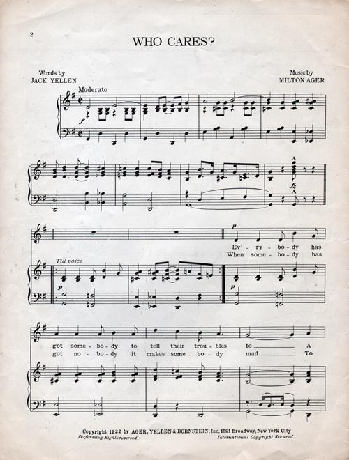Who Cares? Al Jolson's Sensational Hit - Sheet Music for Piano, Page 2