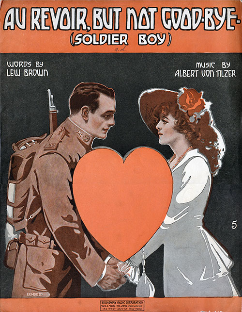 Front Cover, Vintage Sheet Music: Au Revoir, But Not Good Bye, (Soldier Boy) (1917)