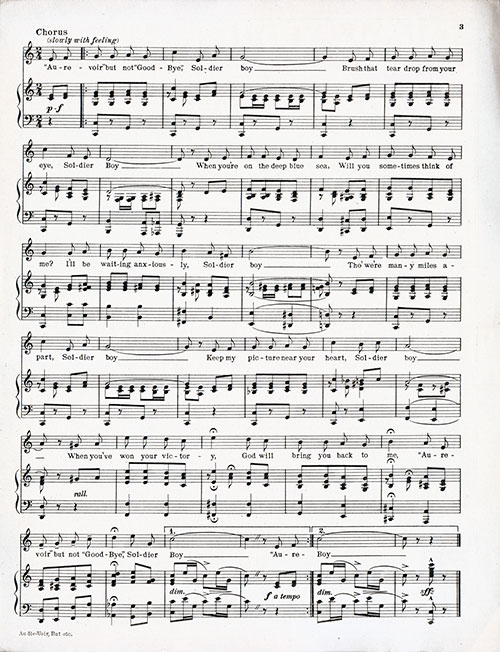 Muisc for Piano, Page 2 of 2, Vintage Sheet Music: Au Revoir, But Not Good Bye, (Soldier Boy) (1917)