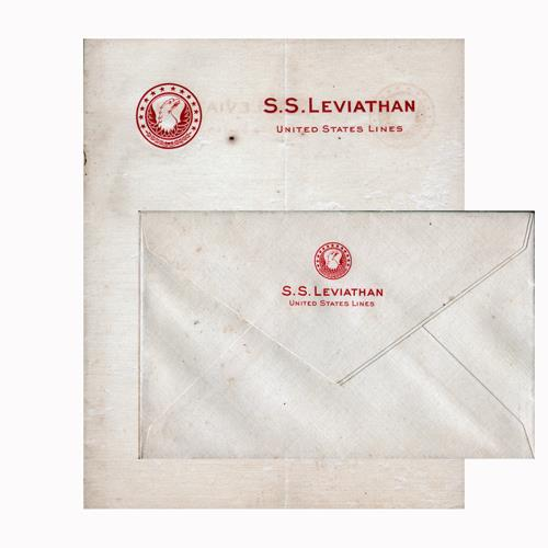Matching Correspondence Letterhead and Envelope for the S.S. Leviathan