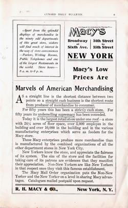 Macy's 1908 Advertisement - Marvels of American Merchandising