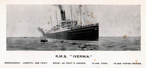 The R.M.S. Ivernia of the Cunard Line