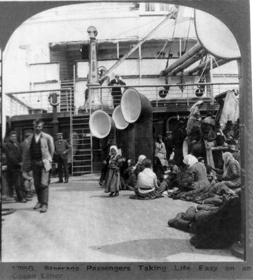 Photo 1705G: Steerage Passengers Taking Life Easy On An Clean Liner circa 1905 (3b06393u LOC)